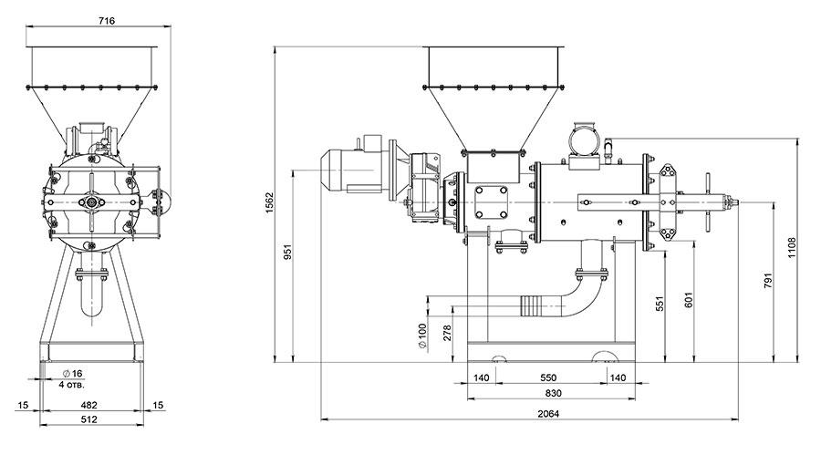 Габаритный чертеж сепаратора EcoPulse S-1.1 с бункером