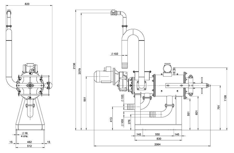 Габаритный чертеж сепаратора EcoPulse S-1.1